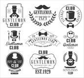葡萄酒先生们被设置的俱乐部商标 库存例证