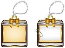葡萄酒光滑的金黄小盒象徽章设计,哥斯达黎加 免版税库存照片