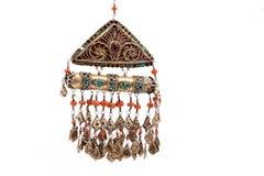 葡萄酒全国和银色首饰,哈萨克人国民首饰的汇集 图库摄影