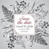葡萄酒典雅的婚礼邀请或卡片救球日期 库存照片