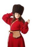 葡萄酒军服的妇女 免版税图库摄影