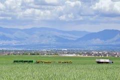 葡萄酒农厂卡车和收获机械有Wasatch全景朝向落矶山,大盐湖谷在早期的spr 免版税图库摄影