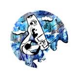 葡萄酒冲浪的标签和徽章 海浪,风筝冲浪和海体育 额嘴装饰飞行例证图象其纸部分燕子水彩 夏天水海滩体育, activi 向量例证