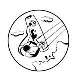 葡萄酒冲浪的概述标签和徽章 向量例证