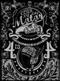 葡萄酒减速火箭的例证印刷术T恤杉打印motorcycl 免版税库存图片