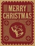 葡萄酒减速火箭的圣诞卡 免版税库存照片