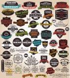 葡萄酒减速火箭的标签,徽章,邮票,丝带的汇集 免版税库存图片