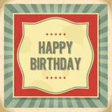 葡萄酒减速火箭的生日快乐卡片 库存例证