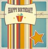 葡萄酒减速火箭的生日快乐卡片 图库摄影