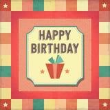 葡萄酒减速火箭的生日快乐卡片 免版税库存照片