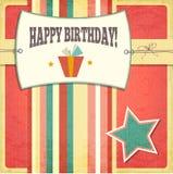 葡萄酒减速火箭的生日快乐卡片 库存照片