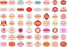 葡萄酒减速火箭的面包店商标的汇集证章和标签 库存图片