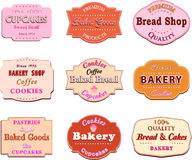葡萄酒减速火箭的面包店商标的汇集证章和标签 库存照片