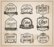 葡萄酒减速火箭的面包店标号组 库存图片