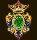 葡萄酒别针多彩多姿的宝石首饰 免版税库存照片