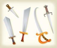 葡萄酒剑、刀子、大刀和军刀集 库存照片
