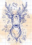 葡萄酒剪影样式beautibul鹿头 被隔绝的传染媒介艺术 古老背景黑暗的纸水彩黄色 印刷品的,海报, T恤杉纺织品理想 免版税图库摄影