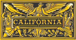 葡萄酒加利福尼亚标签匾、黑色和金子 图库摄影