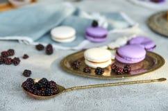 葡萄酒匙子用在前景的新鲜的黑莓 在被弄脏的灰色背景macarons和新鲜的黑莓 库存照片