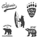 葡萄酒单色加利福尼亚徽章和设计 皇族释放例证