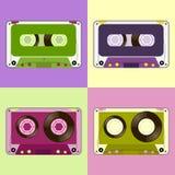 葡萄酒卡式磁带平的设计 库存照片