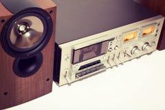 葡萄酒卡式磁带立体声磁带机记录器 图库摄影