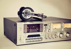 葡萄酒卡式磁带立体声磁带机记录器 免版税库存照片
