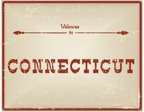 葡萄酒卡片欢迎向康涅狄格 向量例证