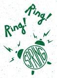 葡萄酒印刷海报 圆环圆环,春天 闹钟 字法 打印在T恤杉和袋子,横幅,海报,贺卡 图库摄影