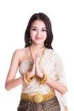 葡萄酒原始的泰国服装的泰国夫人 免版税库存照片