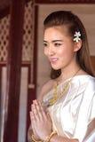 葡萄酒原始的泰国服装的泰国夫人 库存照片