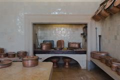 葡萄酒厨房内部 库存图片