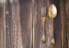 葡萄酒叉子和匙子 库存照片