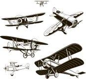 葡萄酒双翼飞机设置了传染媒介黑色老,商标,象征,标签 皇族释放例证