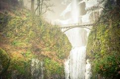 葡萄酒口气冰冷的更低的排马特诺玛瀑布俄勒冈冬天 免版税图库摄影