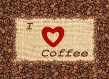 葡萄酒口气样式咖啡豆框架,我爱咖啡设计 库存图片