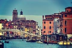 葡萄酒口气的举世闻名的威尼斯大运河 免版税图库摄影