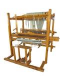 葡萄酒古老木织布机被隔绝在白色 免版税库存照片