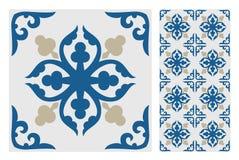葡萄酒古色古香的无缝的设计仿造在传染媒介例证的瓦片 免版税库存图片