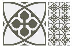 葡萄酒古色古香的无缝的设计仿造在传染媒介例证的瓦片 库存图片