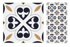 葡萄酒古色古香的无缝的设计仿造在传染媒介例证的瓦片 免版税图库摄影