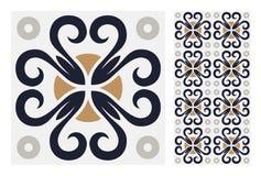 葡萄酒古色古香的无缝的设计仿造在传染媒介例证的瓦片 免版税库存照片