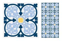 葡萄酒古色古香的葡萄牙无缝的设计仿造在传染媒介例证的瓦片 皇族释放例证