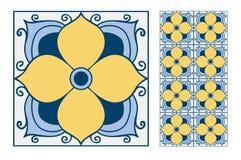 葡萄酒古色古香的葡萄牙无缝的设计仿造在传染媒介例证的瓦片 库存例证