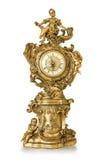 葡萄酒古色古香的金黄时钟 免版税图库摄影