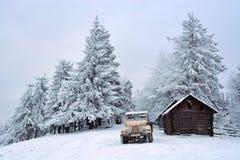 葡萄酒吉普在冬天森林里 图库摄影