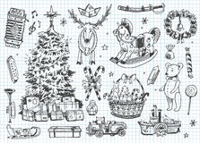 葡萄酒向量乱画。 圣诞节,冬天 免版税库存照片