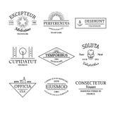 葡萄酒和减速火箭的样式商标和标号组 免版税图库摄影