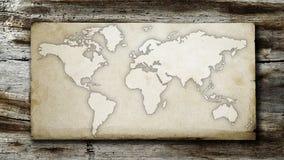 葡萄酒和脏的世界地图在纸 免版税库存图片