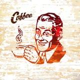 葡萄酒咖啡在木背景的人象 向量例证